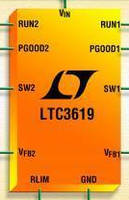 DC/DC Converter can deliver 400 and 800 mA independently.
