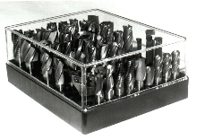 See-Through Storage Rack holds large-size end mills.