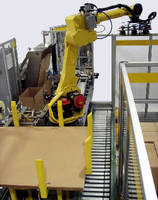 Robotic Case Packer/Palletizer Cell occupies 16 x 9 ft area.