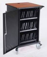 Mobile Netbook Cart stores and charges mini-laptops.