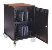 Laptop Storage/Recharging Cart has 15 ft retractable cord reel.