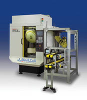 Production Machining Cell loads/unloads medical device parts.