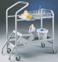 Laboratory Cart integrates step ladder.
