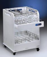 Laboratory Cart holds washer racks and glassware.