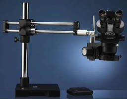 ESD-Safe Trinocular Microscopes offer 8 in. working distance.