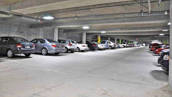 Industrial LED Fixture is suited for use in parking garages.