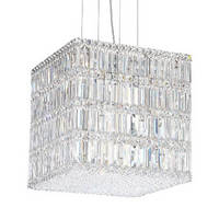 Krypton Light Bulbs illuminate crystal chandeliers.