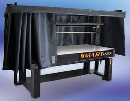 Laser Safety Curtain integrates into optical table support structure.