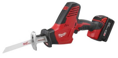 Cordless Reciprocating Saw features one-handed design.
