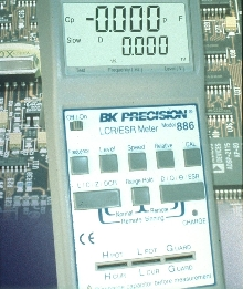 LCR/ESR Meter tests components at up to 100KHz.
