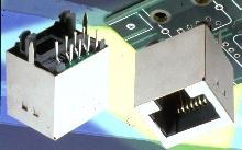 Modular Jack fits on printed circuit board.