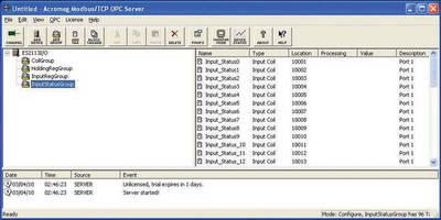 OPC Server Software allows Ethernet I/O connectivity.