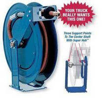Truck Mount Hose Reels feature stainless steel rollers.