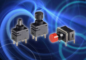 Miniature Pushbutton Switches include vertical/right angle models.