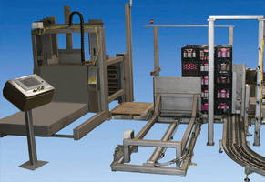Case Palletizing System loads 108 cases onto 2 full pallets every minute.
