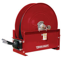 Hydraulic Mobile Base Hose Reel incorporates dual fluid path.