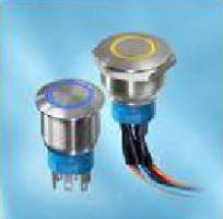 Pushbutton Switches are available with LED-illuminated ring.
