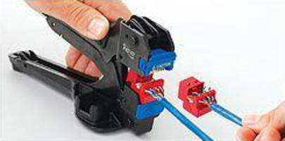 All-in-One Wire Termination Tool works with ICC voice and data jacks.