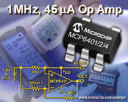 Op Amps feature quiescent current of 45 µA at 1 MHz.