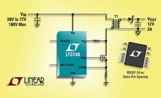 Flyback DC/DC Controller drives external N-channel power MOSFET.