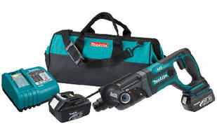 Cordless Rotary Hammer features shock-absorbent D handle.