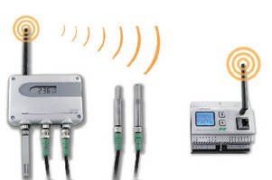 Wireless Sensors measure humidity, temperature, or CO2.
