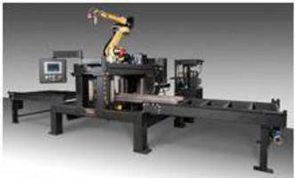 Robotic Cutter/Scriber processes beams, channels, and plates.