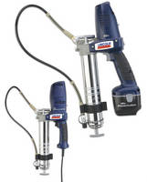 Ergonomic Grease Guns include 18 Vdc and 120 Vac models.