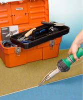 Hot Air Plastic Welding Kit repairs floor coverings.