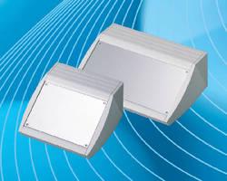 Aluminum Enclosures feature ergonomic, sloping front design.