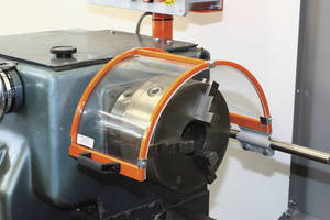 Electrically Interlocked Lathe Shields are IP67-rated.