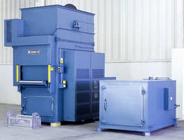 Vertical Conveyor Oven preheats baskets of steel parts.