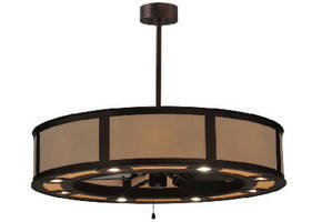 Handcrafted Lighting Fixture incorporates ceiling fan.