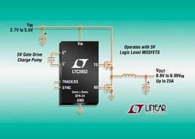 Step-Down DC/DC Controller drives 5 V logic level MOSFETs.