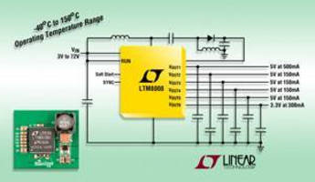 Six-Output DC/DC Regulator operates in -40° to +150°C range.