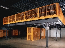 Wire Partition integrates with structural mezzanines.