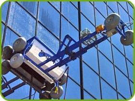 Automated Window Washing System covers up to 35,000 sq ft/hr.