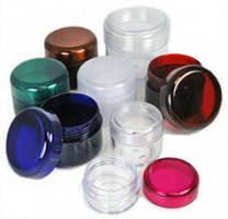 Colored Plastic Jars showcase variety of products.