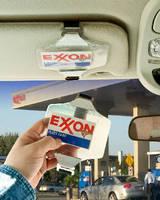 Fleet Gas Card Holder straps securely to vehicle visor.