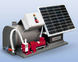 Solar Powered Pumping System feeds water treatment chemicals.
