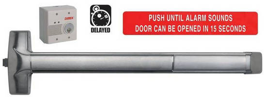 Security Door Exit Device combines delayed egress, latch retraction.