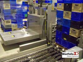 Empty Case De-Palletizer handles over 3 pallets per minute.