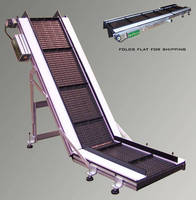 Low Profile Belt Incline Conveyor features adjustable angle.