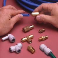 Push-to-Connect Fittings are offered in acetal and brass.