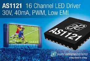 LED Driver offers 12-bit PWM, dot correction, and diagnostics.
