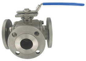Three-Way Ball Valve features stainless steel construction.