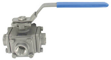 Three-Way Ball Valve is constructed of stainless steel.