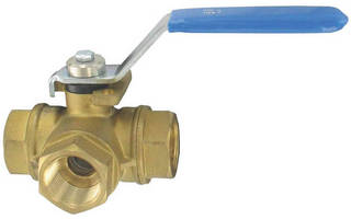 Three-Way Brass Ball Valve features hand lever actuation.