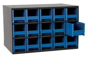 Steel Storage Cabinets offers color drawer options.