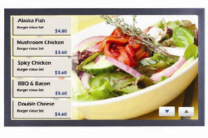 Digital Signage System enables interaction via SAW touchscreen.